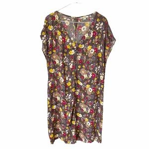 Boden Floral Flower Cap Sleeve Shift Dress Sz 18L